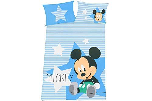 Herding Disney Mickey Mouse Kleinkinder-Bettwäsche-Set, Wendemotiv, Bettbezug 100 x 135 cm, Kopfkissenbezug 40 x 60 cm, Baumwolle/Renforcé