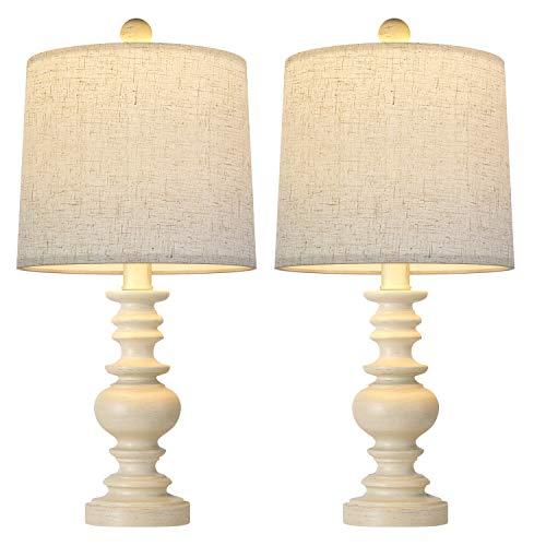 BOBOMOMO Tradition - Juego de 2 lámparas de mesa de noche para sala de estar, mesita de noche, lámparas clásico, color blanco lavado