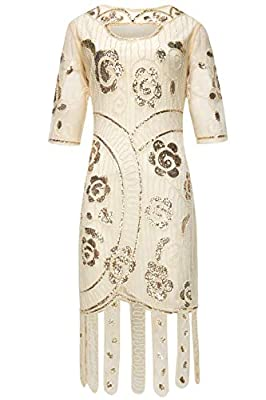 BABEYOND 1920s Flapper Dress Beaded Gatsby Dress Roaring 20s Sequins Dress Vintage Art Deco Dress with Sleeves