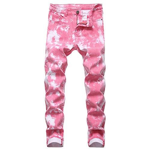 Beastle Jeans para Hombres Moda Slim-fit Pantalones Vaqueros Impresos Pintados de Pierna Recta Pantalones de Talla Grande Europeos y Americanos Tendencia 36