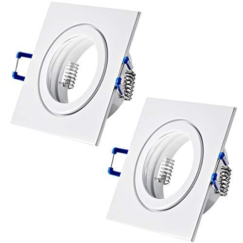 2 x Bad Einbaustrahler 230V inkl. GU10 Fassung Farbe Weiß IP44 Einbauleuchten Neptun Eckig Deckenspots