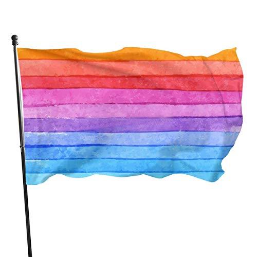Bandera de jardín, diseño de rayas de arco iris, color vivo y resistente a los rayos UV, doble costura para patio, bandera de temporada, banderas de pared de 3 x 5 pies