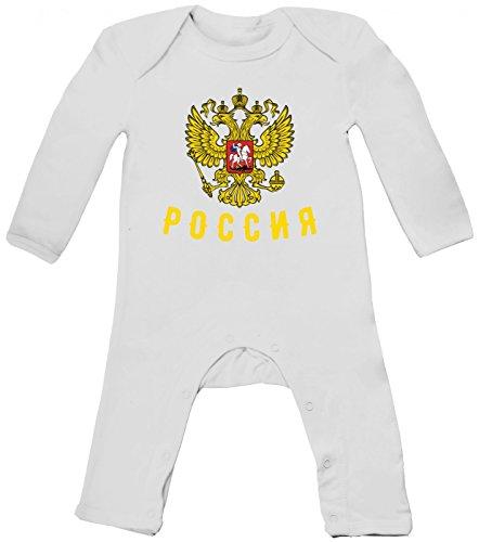 Shirt Happenz Russland Cyrillic Premium-Babybody | Fußball WM | Eishockey WM | Ice Hockey | Russian Federation | Baby Einteiler, Farbe:Weiß (White BZ13);Größe:3-6 Monate