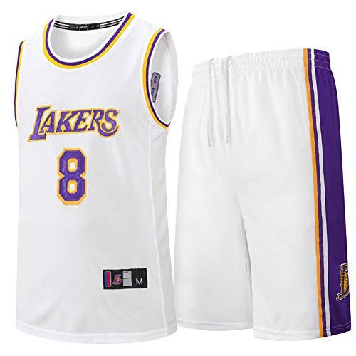 Kinder Jungen Mädchen Männer Erwachsene NBA LBJ LA Lakers, Sommer Basketball Jersey mit kurzen Ärmeln T-Shirt + Kurze Hosen Kleidung Outfit Set,Weiß,M