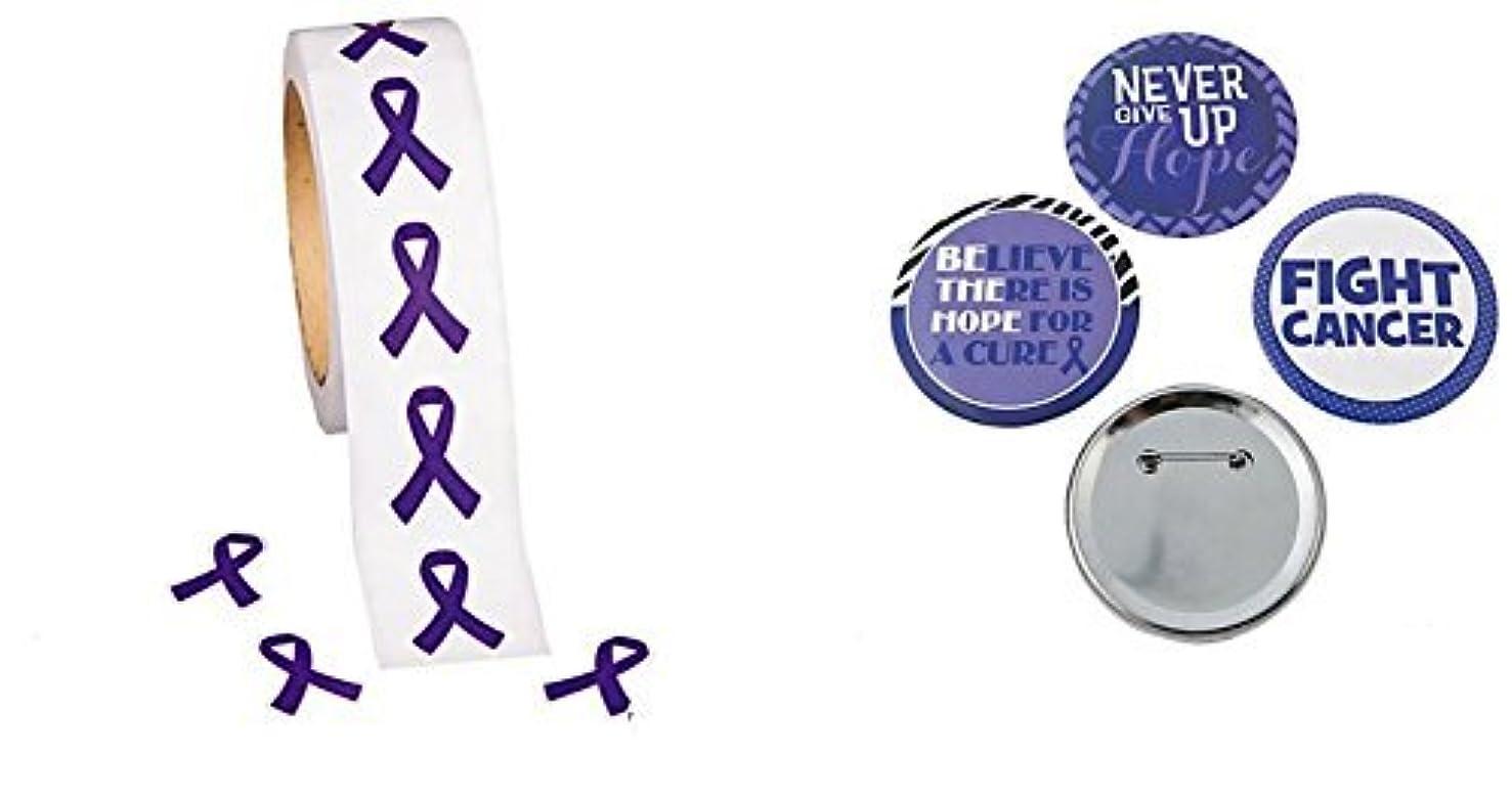 500 Purple Ribbon Awareness Stickers + 1 Purple Awareness Ribbon Button, Support pancreatic cancer, Alzheimer's, lupus, animal abuse, Crohn's disease