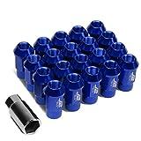 J2 Engineering LN-T7-008-15-BL Blue 7075 Aluminum M12X1.5 20Pcs L: 44mm Open End Lug Nut w/Socket Adapter