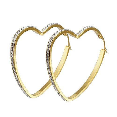 BOBIJOO JEWELRY - Paar oorbellen Creoolse Vrouw Hart 316L Staal Goud Verguld Verguld Zirkonium Steentjes in Afwachting van