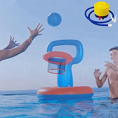 WANGCHAO Aufblasbares Wasserspielzeug Poolspiel, Basketballspiel, Schwimmbad Basketballspiel, Floating Pool Basketball-Reifen für Kinder Erwachsene, für 3 4 5 6 7 Jahre alte Jungen Mädchen