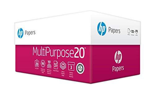 HP Printer Paper, Multipurpose20, 8.5 x 11, Letter, 20lb, 96 Bright, 1,500 Sheets / 3 Ream Carton (112300C) Made In The USA