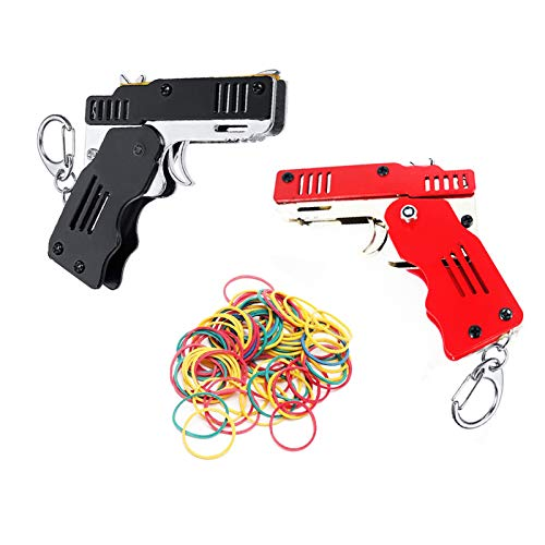Firesofheaven 2 Pieces Rubber Band Gun Toy Easy Load Foldable Handmade Toy Gun Mini Metal Rubber Gun with Keychain and 200 Elastic Rubber Bands