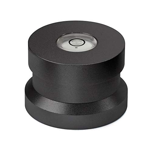 Dynavox Single Puck ASP3, adapter van aluminium voor 45 single-platen, geïntegreerde libel voor het afstellen van de platenspeler, zwart