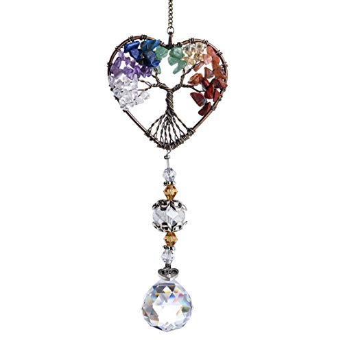 H&D HYALINE & DORA Glass Suncatcher Crystal Pendant Rainbow Maker Colorful Heart Shaped Life Tree Hanging Ornament Indoor Outdoor Decor