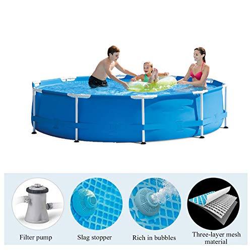 WGXY Piscina Grande, Piscina Inflable para niños, Red de Clip de PVC con Soporte, para niños y Adultos, Piscina Familiar y al Aire Libre (Azul 305 * 76 cm)