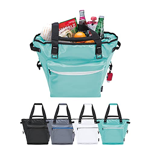 KOOZIE Olympus Insulated Cooler Tote Bag   Keeps Cold for 30 Hours   Strong Tarpaulin Outer Shell   28 Can Portable Tote with Bottle Openers for the Beach, Groceries, Picnics, Camping   Mint