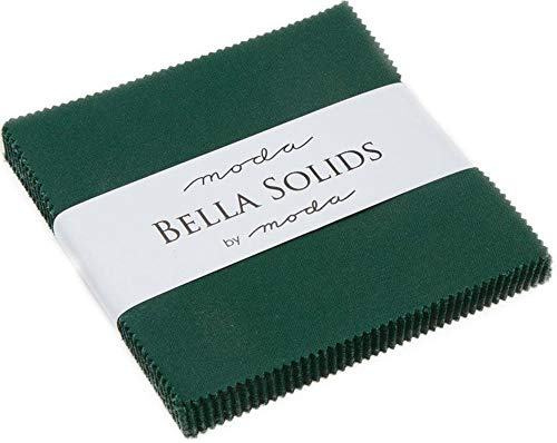 Christmas Green Moda Bella Solids Charm Pack by Moda Fabrics; 42-5' Quilt Squares