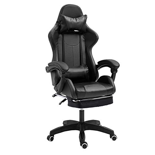 HUAXU Gaming Chair Massage with footrest Office Chair with Massage Lumbar Support Swivel Chair with Racing Style Armrest PU Leather High Back Black
