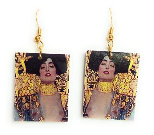 Orecchini realizzati a mano - idea regalo per donna e ragazza - decoupage - Klimt - Giuditta particolare