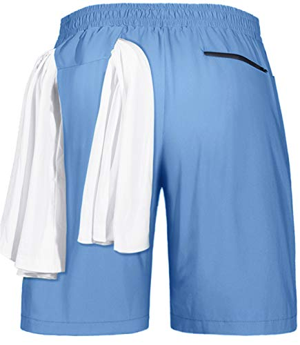 Fulbelle Mens Shorts 7 Inch Inseam, Athletic Running Workout Gym Basketball Golf Cargo Mesh Stretchy Short Pants with Pockets Summer Outdoor Jogger Outdoor Boardshorts Blue XXL