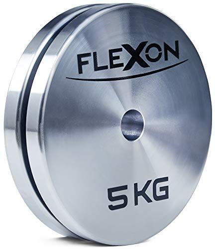 FLEXON  Dischi 5kg, 2 Dischi (Coppia), Dischi Pesi Palestra, Foro 28mm   50mm, Pesi per Bilanciere, Made in Italy (28mm)