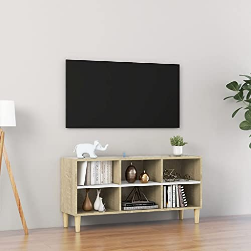 FAMIROSA Mueble TV Patas Madera Blanca y Roble Sonoma 103,5x30x50 cm