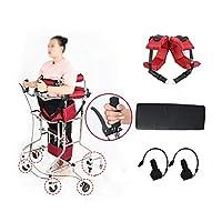 スタンドウォーカーソフトで快適なパッド、8ホイールフレームウォークエイド付きシート取り外し可能デザイン、リハビリテーションデバイス用装備下肢歩行器 (Color : 赤, Size : A)