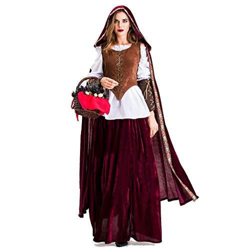 Fossenfeliz Disfraz de Caperucita Roja Mujeres Divertido Sexy - Traje de Halloween para Reina, Bruja, Mucama Realista Artículos Prop de Navidad, Fiesta de Baile (S, Rojo-B)