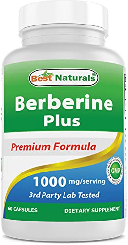 Best Naturals Berberine Plus 1000mg/Serving, (Non-GMO) 60 Capsules - Contains Berberine HCl 1000mg, Vitamin C 120mg & Zinc Gluconate 30 mg - Supports Healthy Glucose Metabolism & Immune Function