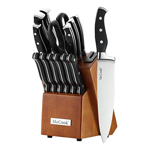 McCook MC25 14 Pieces FDA Certified High Carbon Stainless Steel kitchen knife set with Wooden Block,...