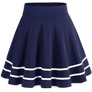 Dresstells Basic Solid Versatile Stretchy Flared Casual Mini Skirt Navy-White L:Abra-sua-mei