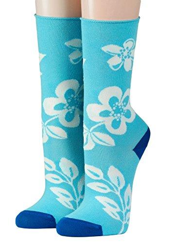 CRÖNERT Socken Longsocks Söckchen im Design weiße Blüten & Blätter auf hellblau (35-38)