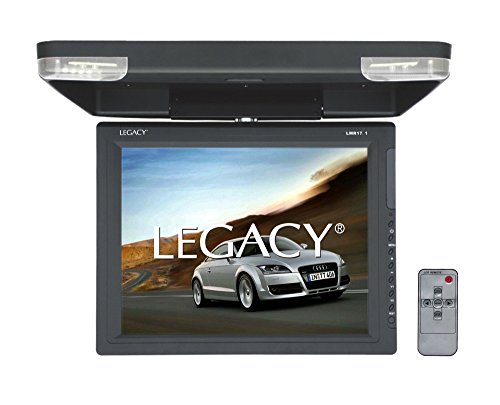Legacy Flipdown Car Overehead Roof Mount -High Resolution All-in-one Display Monitor, HDMI & USB Input, Built-in FM & IR Transmitter w/ LED Surround Light & Dual Dome Mounted Lights - SereneLife LMR17.1, Gray