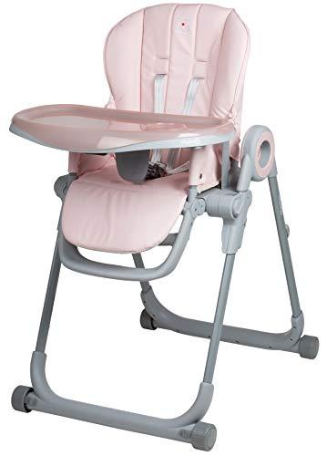 Babygo Divan Hochstuhl, Sitzhöhe in 6 Positionen verstellbar, mit Sicherheitsgurt und abnehmbare Abdeckung, Pink Rosa