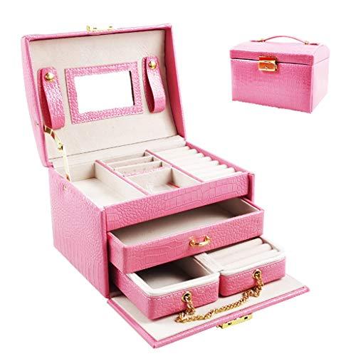 Joyero para niñas, caja de joyería con espejo con cerradura, organizador de almacenamiento de anillos, de cuero sintético grande, caja de joyería