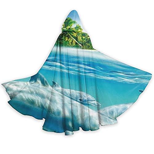 Capa con capucha de pescado subacutico de longitud completa con capucha capa de cosplay disfraz de lujo capa de Halloween decoraciones fiesta