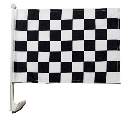 MissionMax 12 Checkered Black & White Car Window Flags That Clip on All Vehicle Windows. These Car Flags are The Perfect Sales Tool for All Car Auto Dealers. Let Your Cars, Trucks and Vans Stand Out