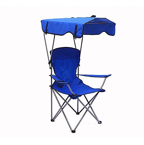 OMVOVSO Silla De Salón Al Aire Libre para La Playa, Silla Deportiva Plegable con Sombrilla con Bolsa, Silla Pesada Portátil, Silla De Camping De Dosel Rojo,Azul