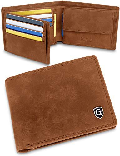 GenTo® Manhattan Herren Geldbörse mit Münzfach - TÜV geprüfter RFID, NFC Schutz - geräumiges Portemonnaie - Geldbeutel für Männer - Portmonaise inkl. Geschenkbox (Hellbraun - Soft)