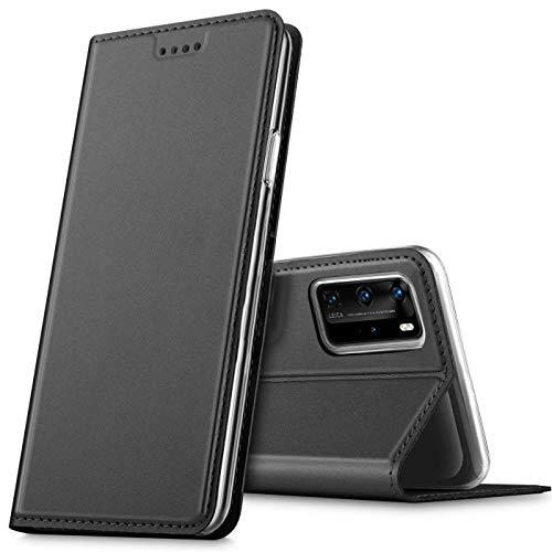 Verco Handyhülle für Huawei P40 Pro, Premium Handy Flip Cover für Huawei P40 Pro Hülle [integr. Magnet] Book Hülle PU Leder Tasche, Schwarz