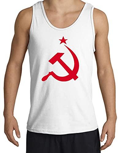 URSS Unión Soviética Camiseta sin Mangas para Adulto con Hoz y Martillo - Blanco