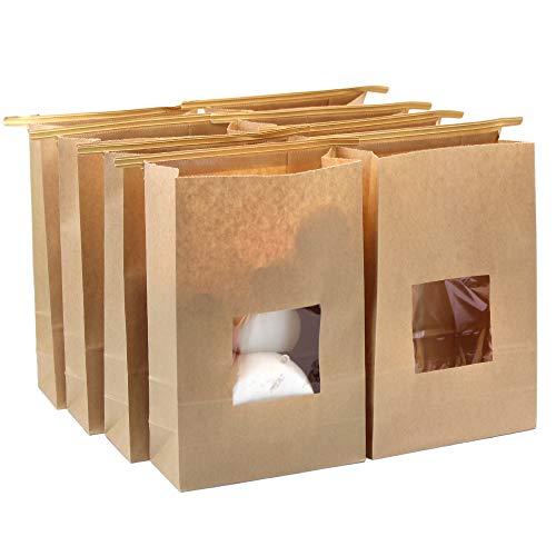 Lenhart – Lot de 50sacs en papier Kraft ciré de qualité alimentaire avec rabat de fermeture, 15x 7x 23,5cm