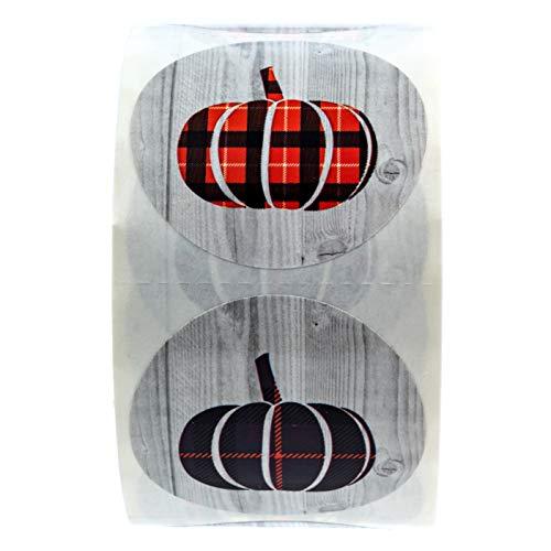 Pumpkin Harvest Stickers / 6 Alternating Plaid Pumpkin Designs / 500 Halloween Stickers
