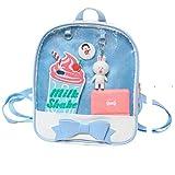 Ita Bag Japanese Bags Candy Ears Backpack Bowknot Kawaii Anime Window Bag Transparent Beach School Bag (Blue)