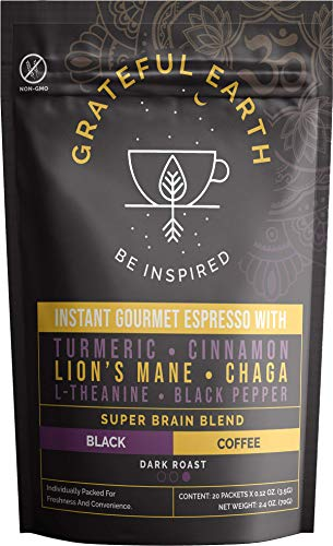 Grateful Earth: Super Brain Blend Instant Gourmet Espresso - Instant Black Coffee with Nootropics - 20 Packets - Microground Robusta and Arabica Coffee with Turmeric, Cinnamon, Black Pepper and More