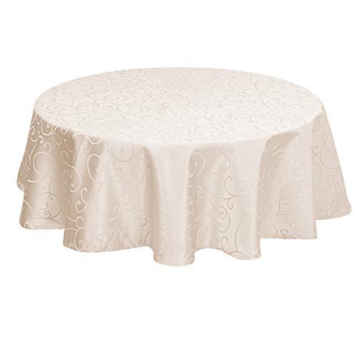 EUGAD Tischdecke Damast Ornamente Seidenglanz Kringel/Circle Design Tafeldecke mit Saum, Tischtuch Größe & Farbe wählbar, Edel Tisch Decke Abwaschbar und Bügelfrei, Rund 160 cm Campagner