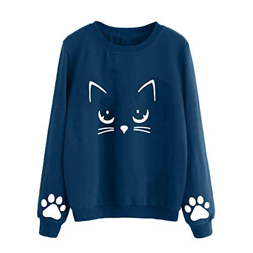 Sudadera Mujer Gato Camiseta Blusa de Otoño e Invierno de Manga Larga con Cuello Redondo Sudaderas Mujer Invierno Tumblr y Originals en Rebajas y Baratas (Azul, XX-Large)