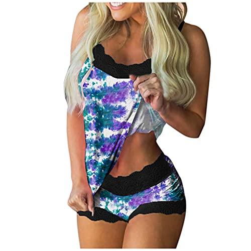 Nachthemd Disney Damen Romantisches Nachthemd Desouses Set Jumpsuit Damen Nachtwäsche Damen Microfaser Unterwäsche Damen Spitzen Nachtwäsche (Q1-Lila,S)