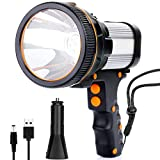 Rechargeable Spotlight,Super Bright 7800 Lumens LED Searchlight Handheld,and Flood Camping...