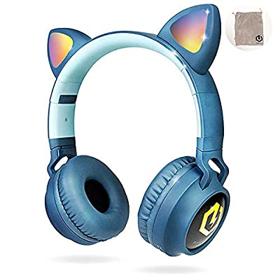 PowerLocus Wireless Bluetooth Headphones for Kids, Kid Headphone Over-Ear with LED Lights, Foldable Headphones with Microphone,Volume Limited,Wireless and Wired Headphone for Phones,Tablets,PC,Laptops by Powerlocus