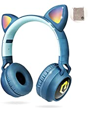 PowerLocus trådlösa Bluetooth-hörlurar för barn, barn hörlurar över-örat med LED-lampor, hopfällbara hörlurar med mikrofon, volymbegränsad, trådlösa och trådbundna hörlurar för telefoner, surfplattor, PC, bärbara datorer