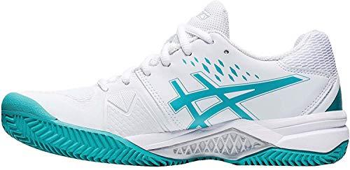 ASICS Gel-Challenger 12 Clay, Zapatillas de Tenis Mujer, White Techno Cyan, 40.5...